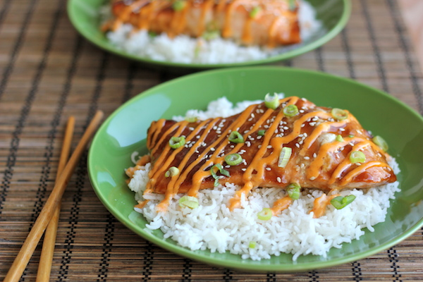 Teriyaki Salmon with Sriracha Cream Sauce