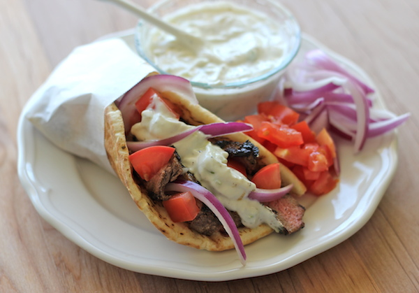 Sirloin Gyros - You can easily make gyros right at home with a healthy homemade Greek yogurt tzatziki sauce!
