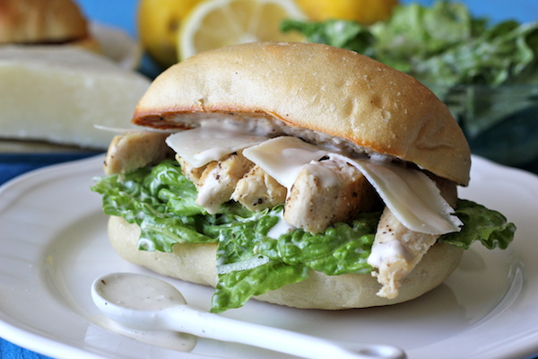 Chicken Caesar Ciabatta Sandwiches - You won't believe how easy it is to make caesar dressing from scratch. And it tastes 1000x better too!