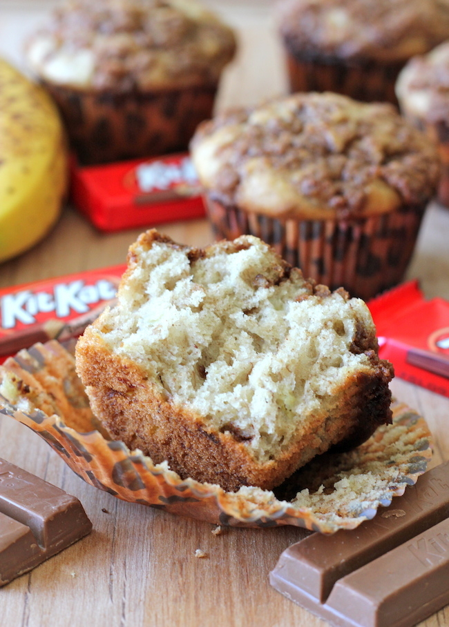 Banana Bread Kit Kat Muffins - The perfect way to use up those lingering bananas for an indulgent breakfast muffin!
