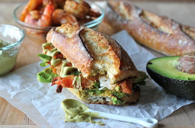 Spicy Roasted Shrimp Sandwich with Chipotle Avocado Mayonnaise - A loaded shrimp sandwich with a kick of heat and a double dose of avocado!