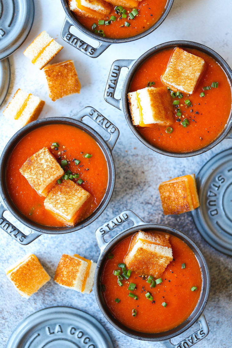 Creamy Tomato Soup With Grilled Cheese Croutons Damn Delicious