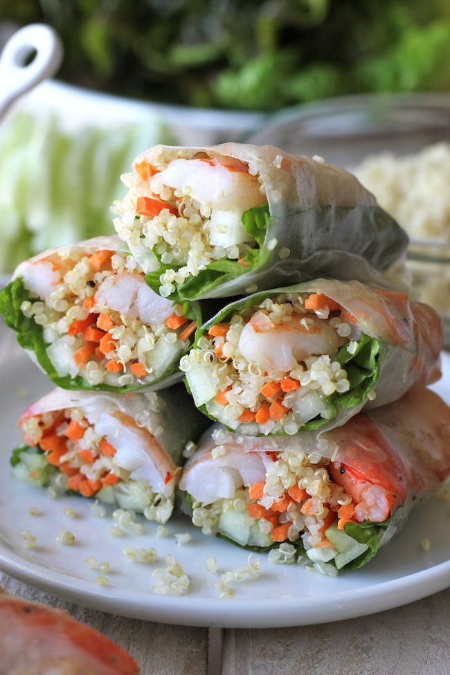 Roasted Shrimp Quinoa Spring Rolls Damn Delicious