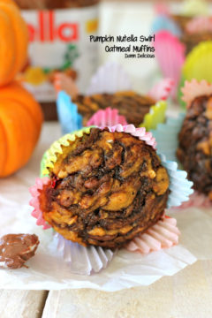 Pumpkin Nutella Swirl Oatmeal Muffins