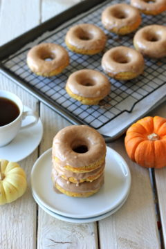 Lightened-Up Pumpkin Donuts with Maple Glaze