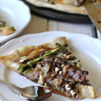 Philly Cheesesteak Pizza with Balsamic Fig Reduction