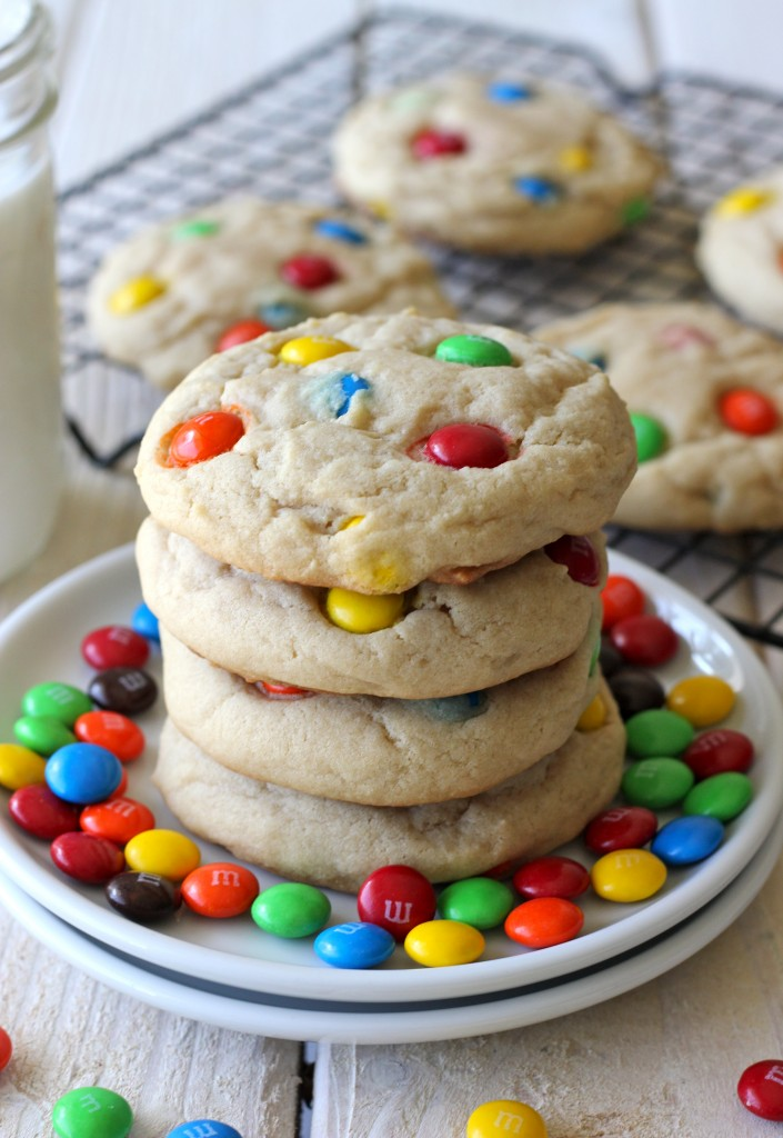 M&M Cookies - Soft, chewy cookies loaded with colorful M&M's. A batch of cookies that both kids and grown-ups will love!