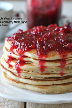 Whole Wheat Pancakes with Cranberry Maple Syrup