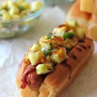 Bacon Wrapped Teriyaki Hot Dogs with Pineapple Salsa