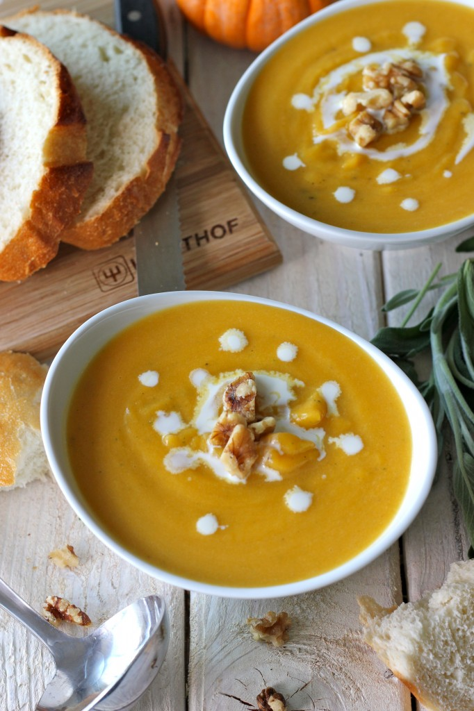 Roasted Butternut Squash and Sage Soup - Roasted winter squash is blended with fresh sage for a smooth, elegant smooth lightened up with Greek yogurt!