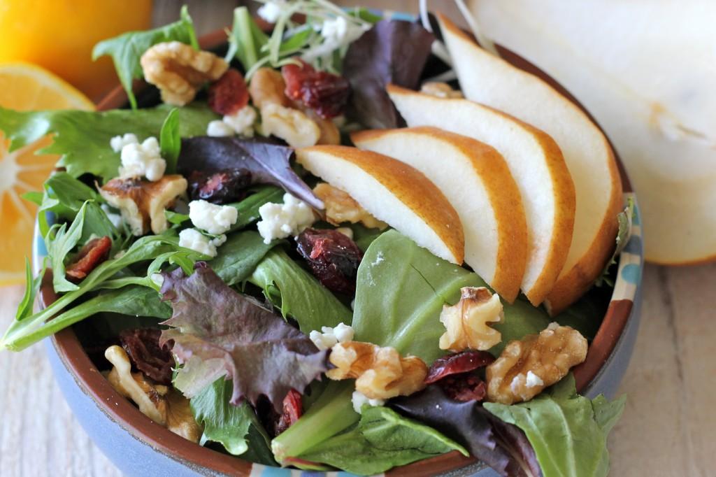 Winter Pear Salad with Meyer Lemon Vinaigrette