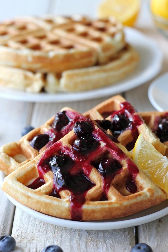 Lemon Belgian Waffles with Blueberry Syrup