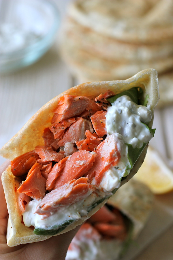 Broiled Salmon Gyros with Cucumber Feta Yogurt Dip - A healthy, protein-packed gyro with an easy homemade Greek yogurt dip!