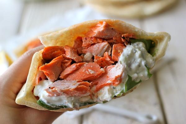 Broiled Salmon Gyros with Cucumber Feta Yogurt Dip - A healthy, protein-packed gyro with an easy homemade Greek yogurt dip!