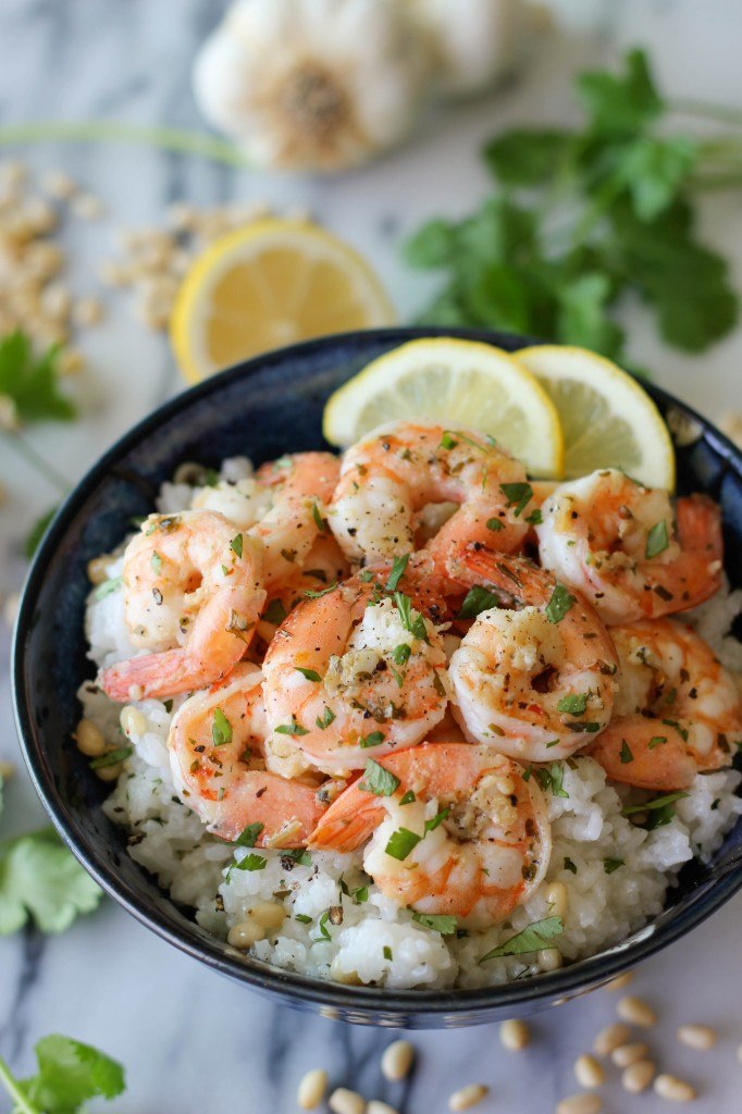 Lemon Shrimp with Garlic and Herbs - From the freezer to the table within 20 minutes, and it's only 230 calories/serving!