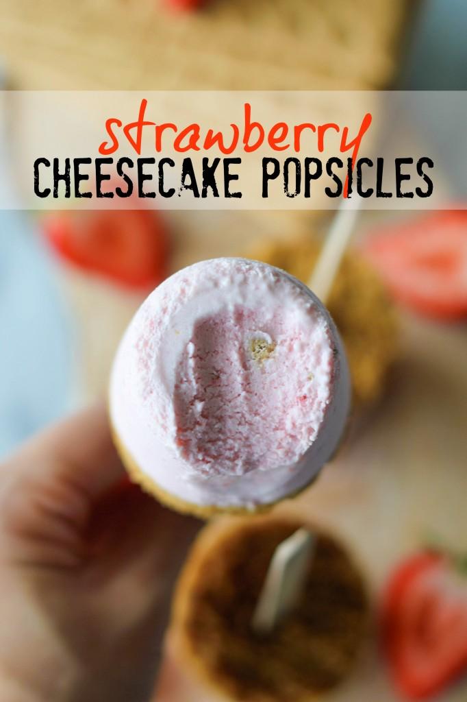 Strawberry Cheesecake Popsicles - Oh-so-creamy strawberry cheesecake in popsicle-form with a mile-high graham cracker crust!