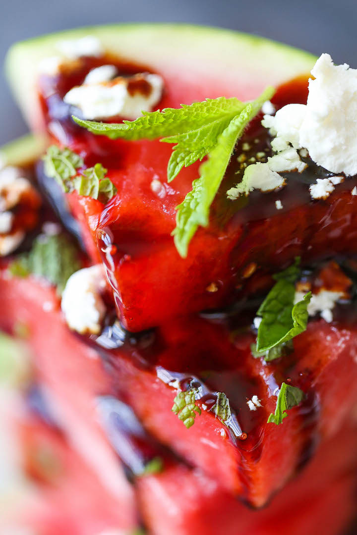 Watermelon Salad with Balsamic Reduction - A refreshing mix of watermelon wedges with fresh mint and goat cheese - the perfect way to cool down this summer!