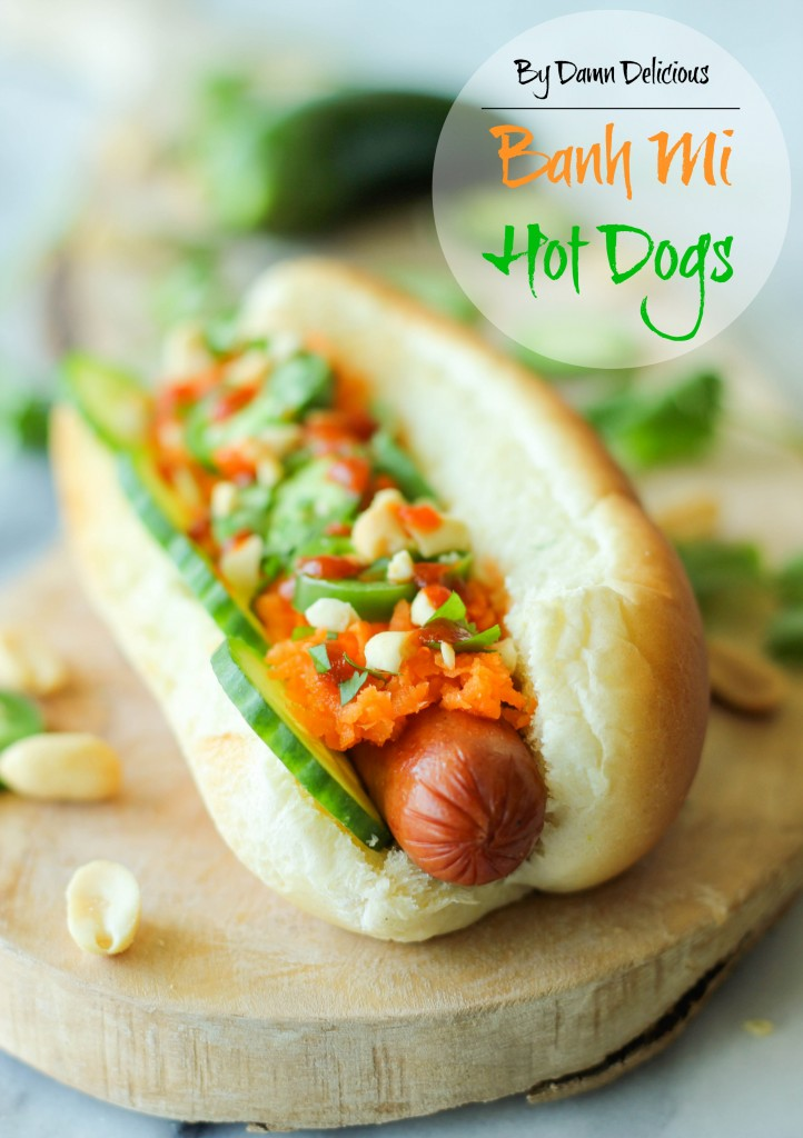 Banh Mi Hot Dogs - A fun Asian, spicy banh mi twist to the traditional hot dog!