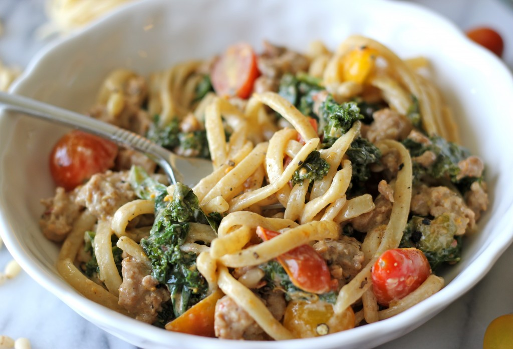 Black Truffle Pasta with Kale, Italian Sausage and Meyer Lemon Cream Sauce - Perfect for a busy weeknight meal!