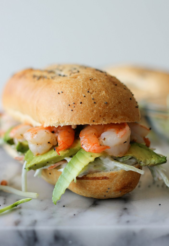Shrimp Sandwich with Avocado and Broccoli Slaw - This sandwich combines a homemade broccoli slaw, fresh avocado and roasted shrimp!