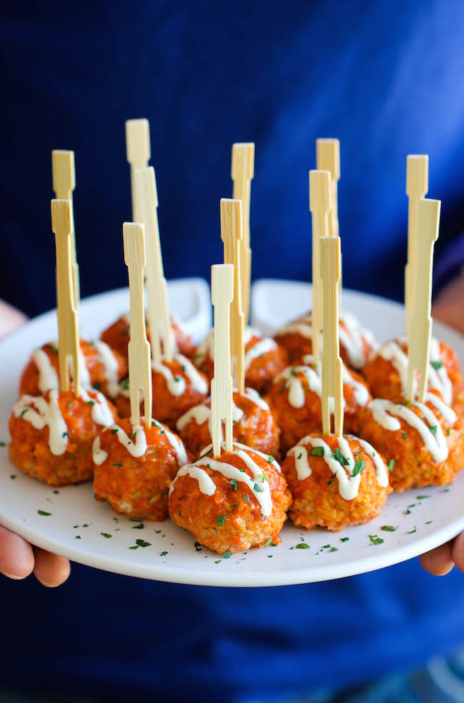 Slow Cooker Buffalo Chicken Meatballs - A lighter, healthier alternative to buffalo wings that you can make right in the slow cooker!