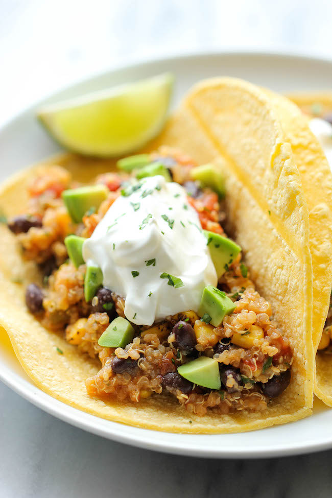 Quinoa Black Bean Tacos - Quick, easy, healthy and full of flavor – even meat eaters will love this!