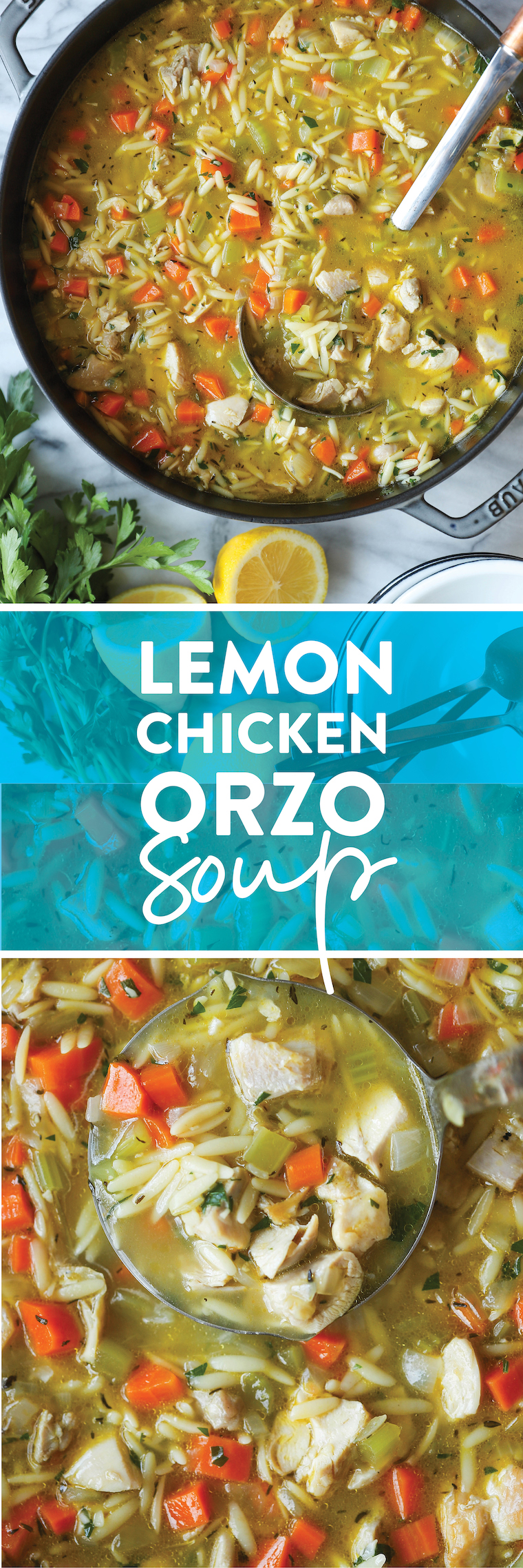 Lemon Chicken Orzo Soup - Chockfull of hearty veggies and tender chicken in a refreshing lemony broth. It is PURE COMFORT in a bowl!