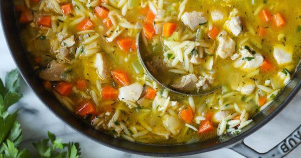 lemon chicken orzo soup  damn delicious