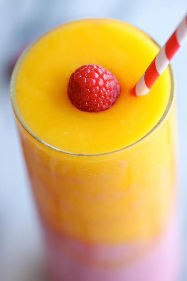 Raspberry Sunrise Smoothie - 4-ingredient raspberry mango smoothie – so easy and amazingly refreshing!