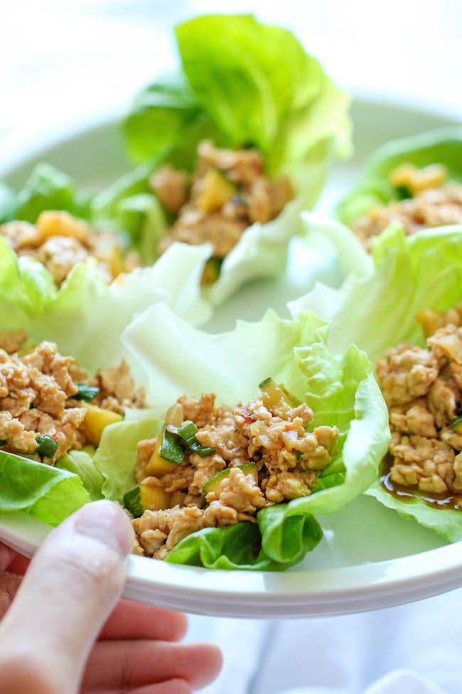 Kung Pao Chicken Lettuce Wraps - A take-out favorite made healthy + low-carb! And this comes together in just 20 min from start to finish!