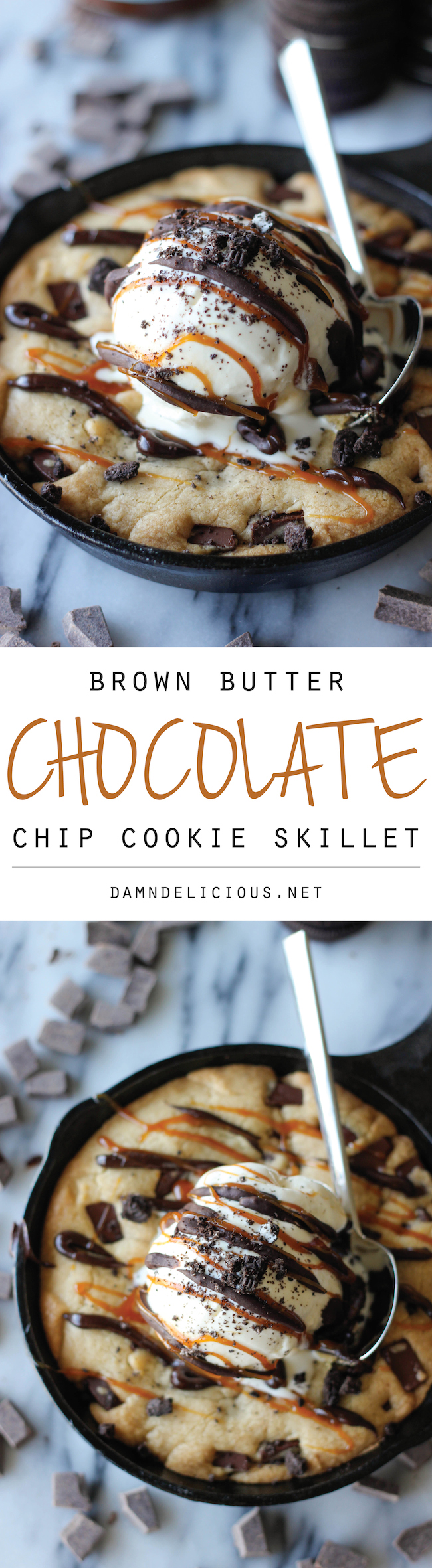 """Brown Butter Chocolate Chip Cookie Skillet (""""Pizookie"""") - No need to go to BJ's anymore for your pizookie cravings!"""