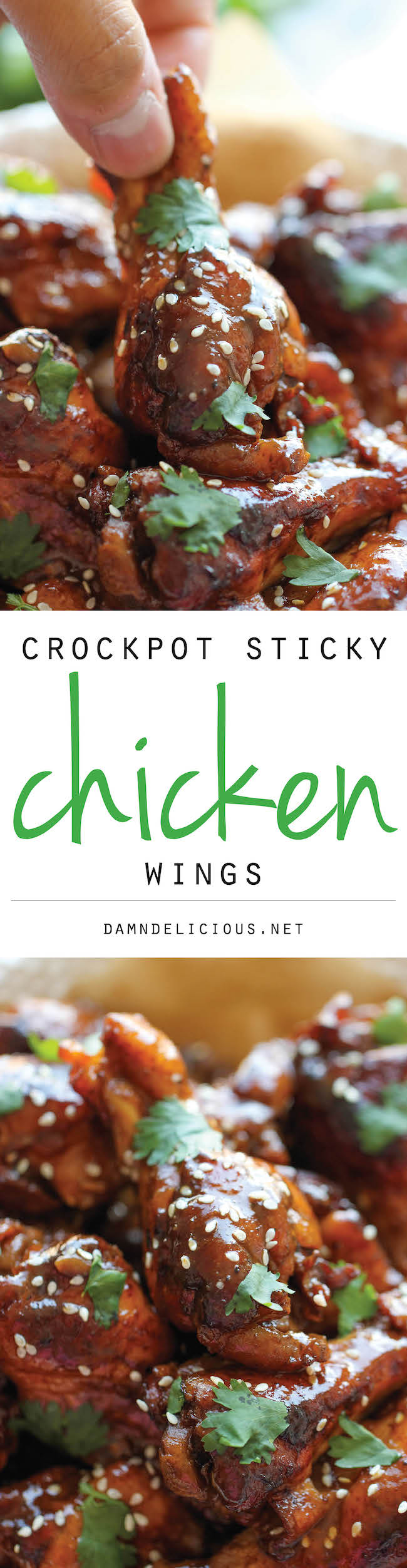 Slow Cooker Sticky Chicken Wings - The easiest wings you will ever make. Just throw everything into the crockpot and you're set! Easy peasy!