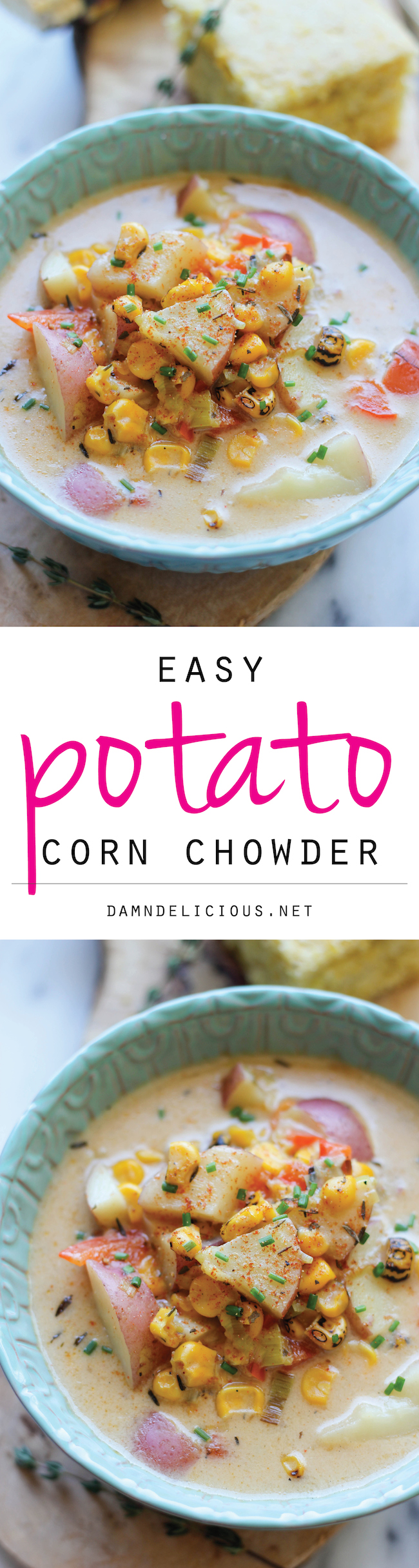 Potato Corn Chowder - A cozy, comforting and hearty potato chowder loaded with roasted corn and leeks!