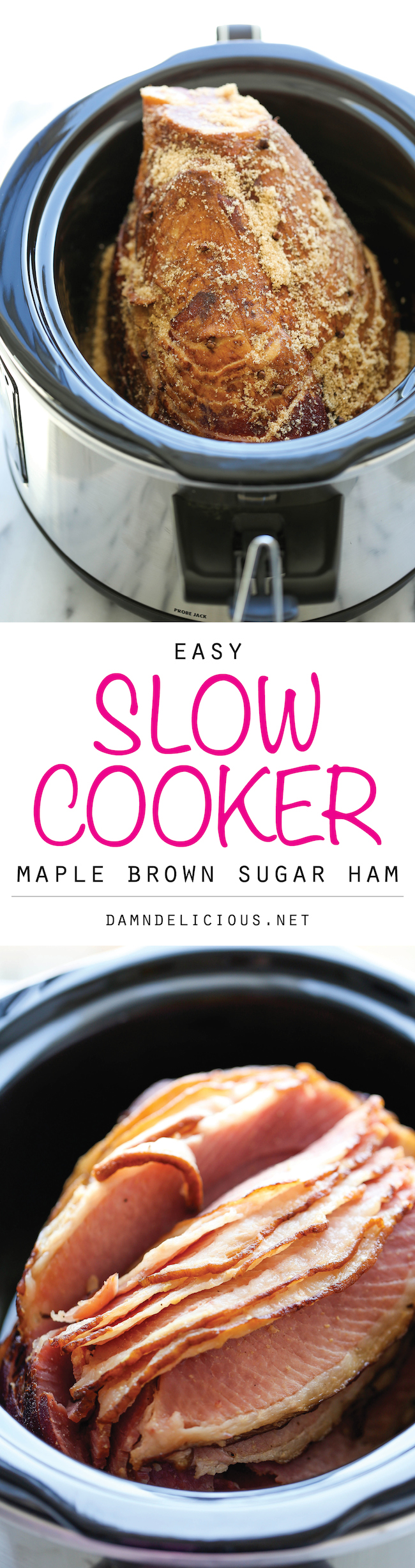 Slow Cooker Maple Brown Sugar Ham - The easiest, most tender, juicy ham made right in the crockpot with just 5 min prep. And you save on oven space too!