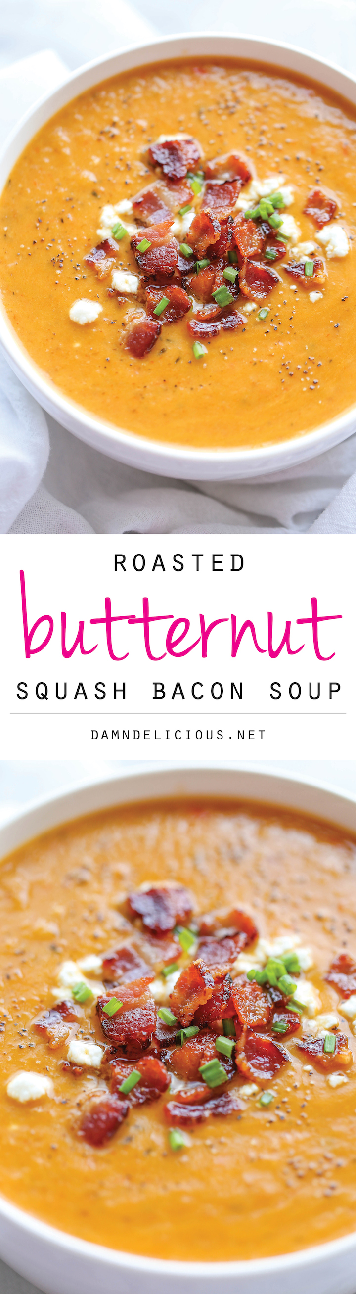 Roasted Butternut Squash and Bacon Soup - By far the best butternut squash soup ever, with the help of those crisp bacon bits blended right into the soup!