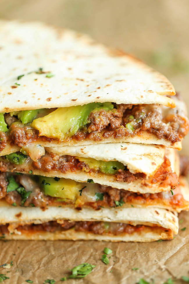 Cheesy Avocado Quesadillas Damn Delicious