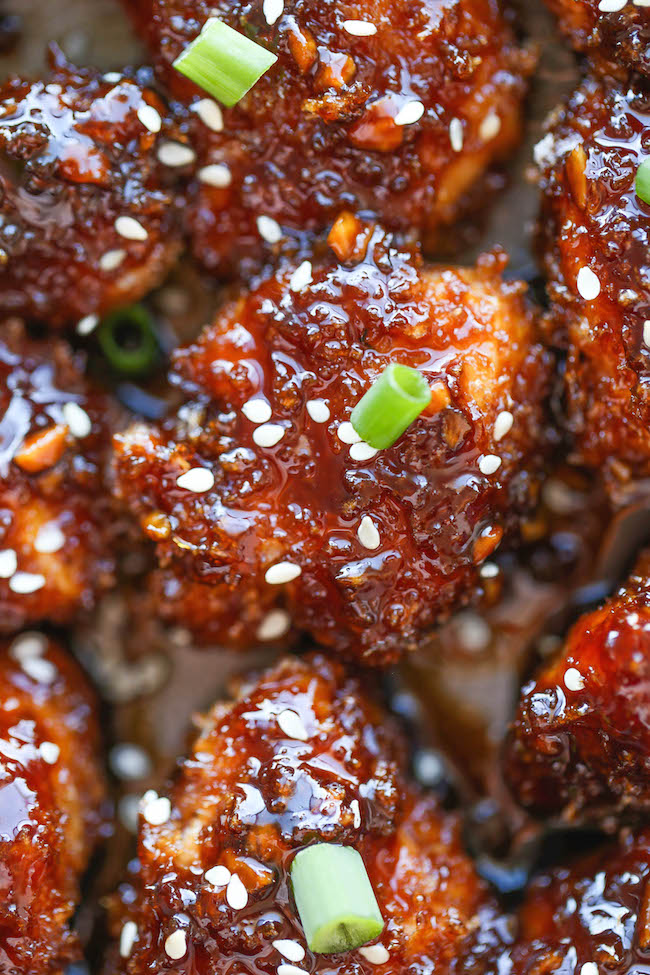 Sticky garlic chicken bites damn delicious sticky garlic chicken bites these easy baked chicken nuggets are sweet sticky and forumfinder Choice Image