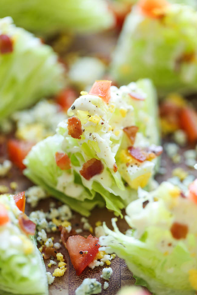Mini BLT Wedge Salads - These mini salads with crisp bacon bits are perfect for easy serving, and miniature food always tastes better!