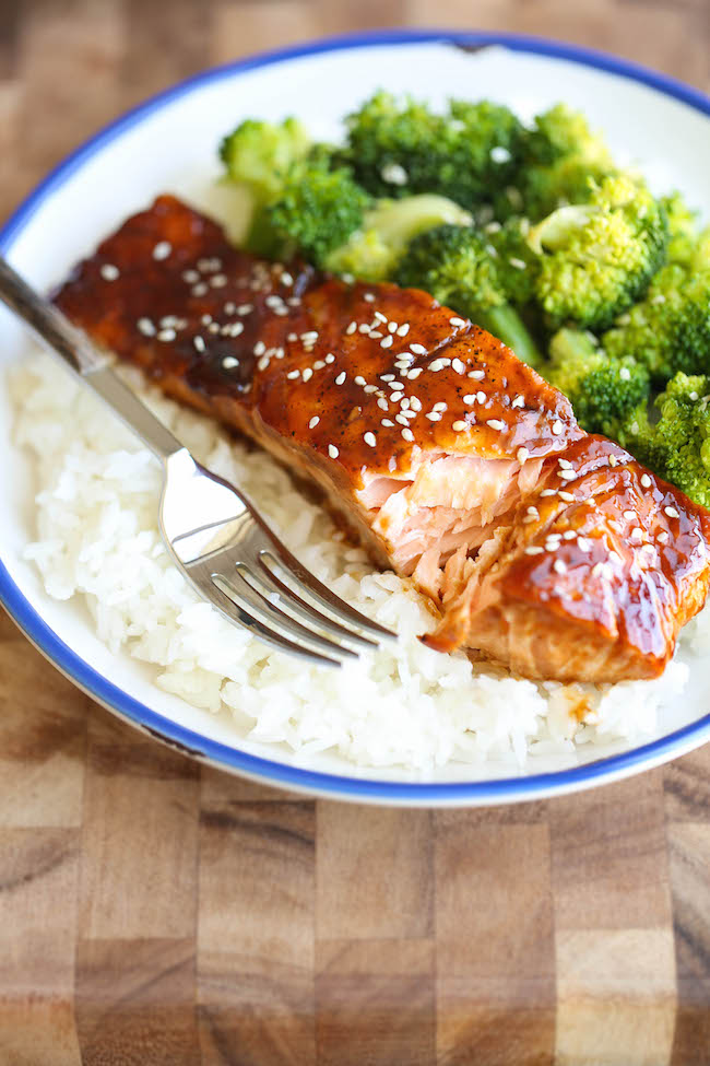 Teriyaki Salmon And Broccoli Bowls Damn Delicious