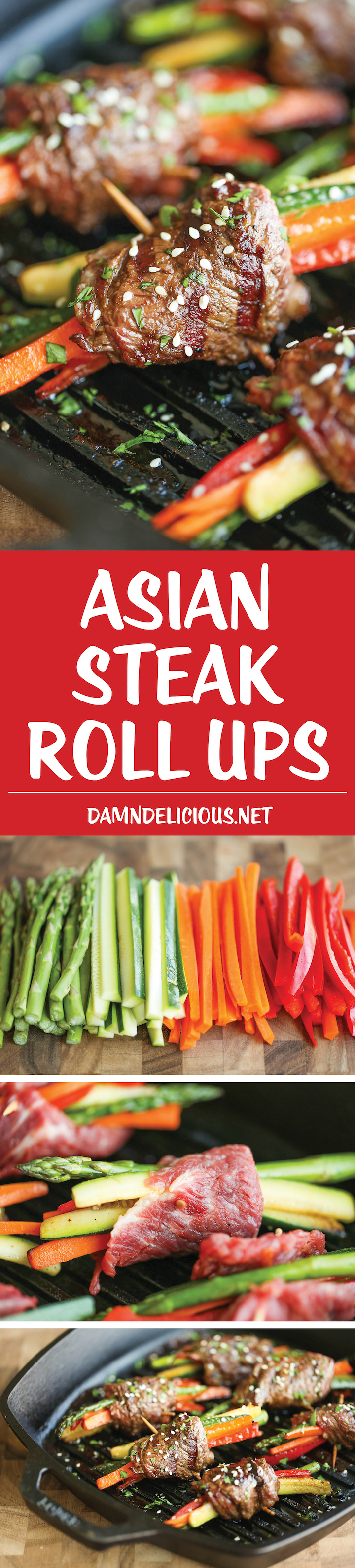 Asian Steak Roll Ups - Easy make-ahead roll ups with tons of veggies and the best Asian marinade loaded with so much flavor. Can be grilled or pan seared!