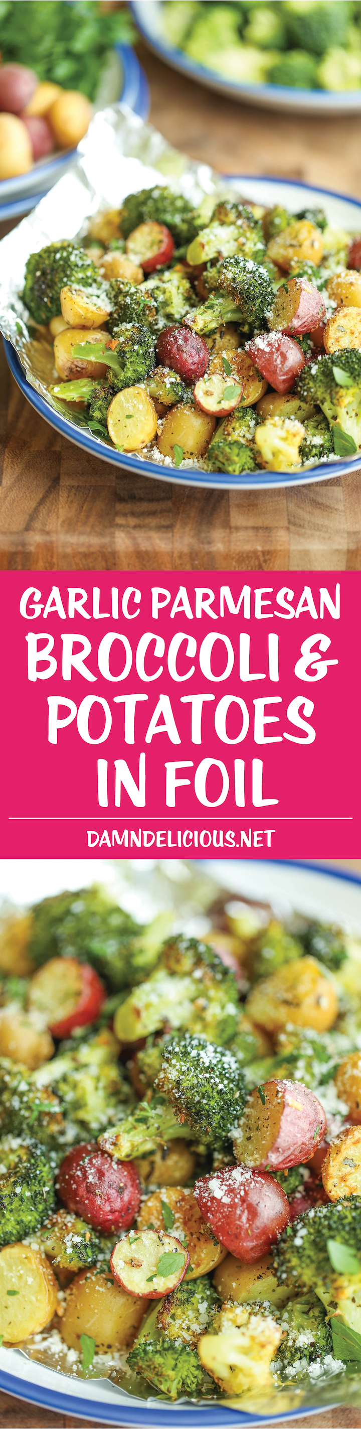 Garlic Parmesan Broccoli and Potatoes in Foil | Easy Foil-Wrapped Camping Recipes For Outdoor Meals