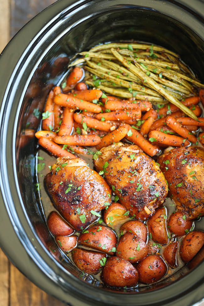 Slow Cooker Honey Garlic Chicken And Veggies Damn Delicious