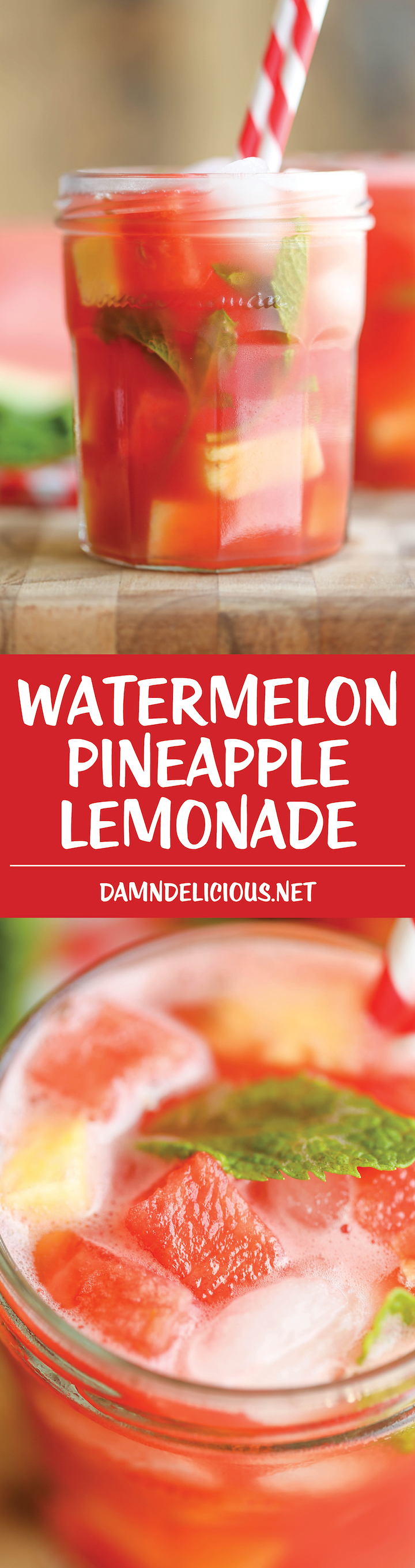 Watermelon Pineapple Lemonade - A fun twist on the traditional lemonade that's wonderfully tangy, sweet, refreshing and incredibly easy to whip up!