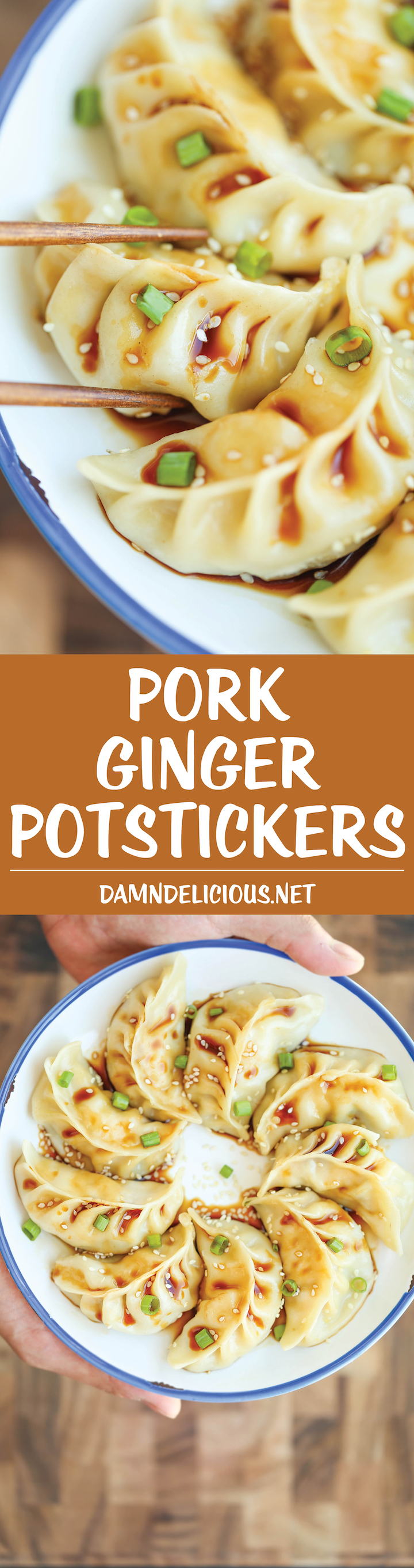 Pork Ginger Potstickers - Super easy, freezer-friendly potstickers made completely from scratch. So hearty AND healthier than take-out!