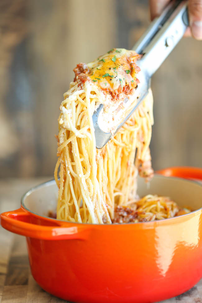 Baked cream cheese spaghetti damn delicious baked cream cheese spaghetti a baked spaghetti casserole thats amazingly cheesy and creamy its forumfinder Image collections