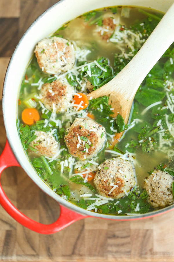 Turkey Meatball And Spinach Soup Damn Delicious