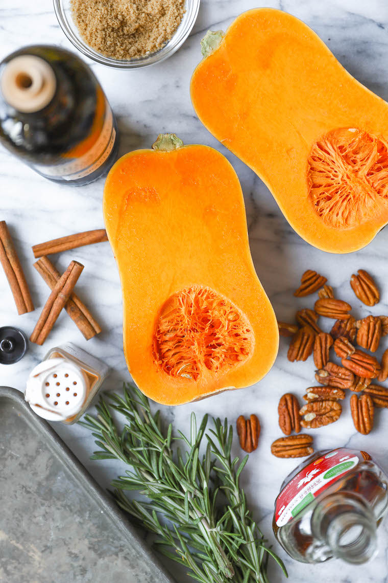 Cinnamon Pecan Roasted Butternut Squash - Perfectly roasted with maple syrup, brown sugar, cinnamon, nutmeg, rosemary. So easy and so so good.