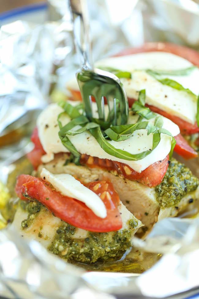 Pesto Caprese Chicken In Foil Damn Delicious