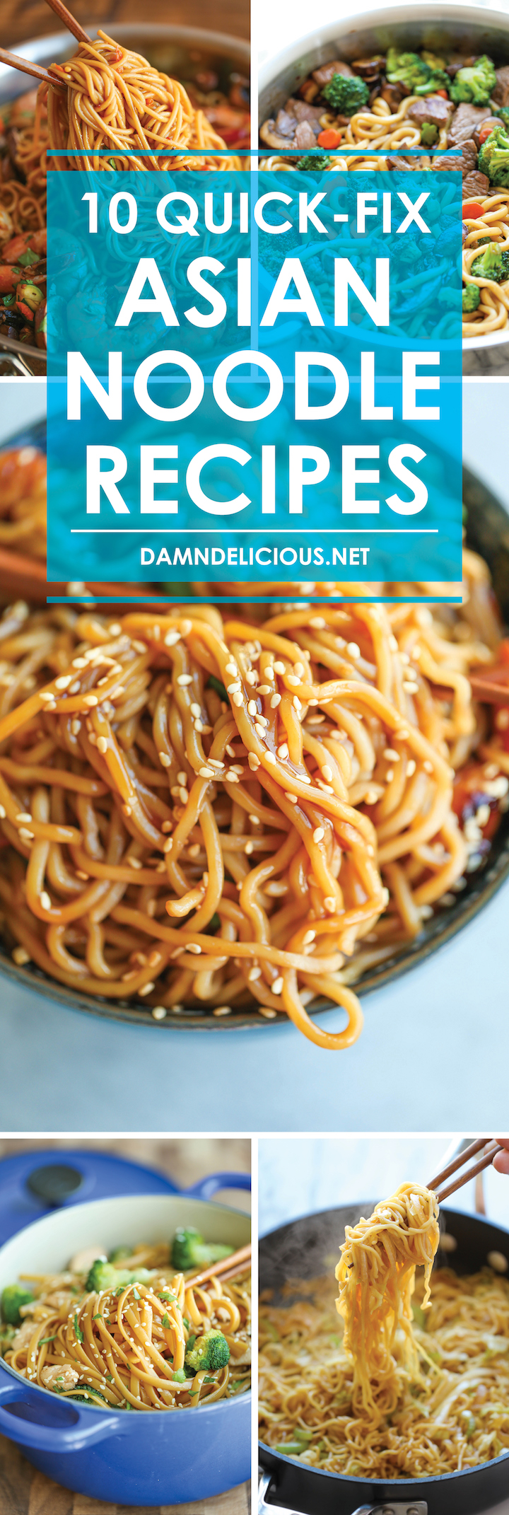 10 Quick-Fix Asian Noodle Recipes - Fast, cheap and quick! And you can use any kind of noodles you have on hand - fettuccine, spaghetti, ramen, anything!