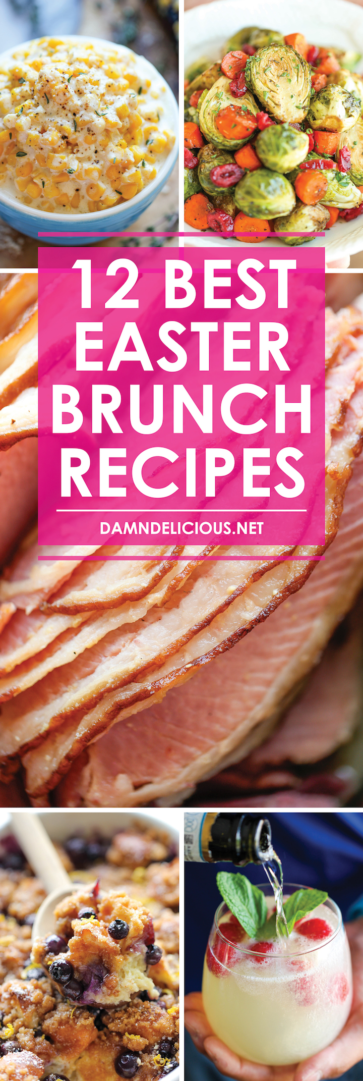 12 Best Easter Brunch Recipes - Have the best/easiest Easter brunch ever! From drinks to appetizers to sides to mains, this menu has you completely covered.